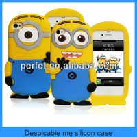 minion 3d silicone case despicable me minion case for iphone 4 4s(PT-i4208)