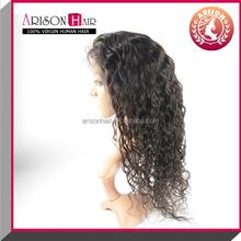 Natural Brown Virgin Human deep curl Human Hair Lace front Wigs