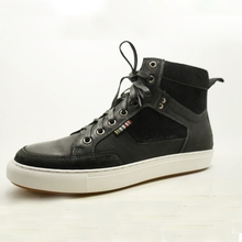 black color fashionable lace up high top men leather sneakers