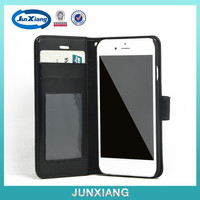 Nice multifunctional leather flip case for iphone 6 with card slot black color various color