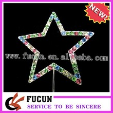 Brilliant smooth colorful customized star rhinestone cake topper,delicate design,exellent quality