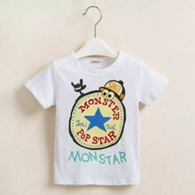 3-12 years old kids printed carton stock t-shirt