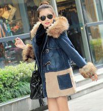 New women Nagymaros collar long sections thick lamb's wool denim cotton padded jacket