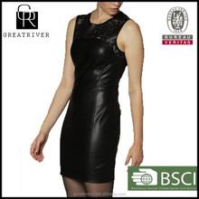 2015 Hot Selling Dress woman sexy leather dress