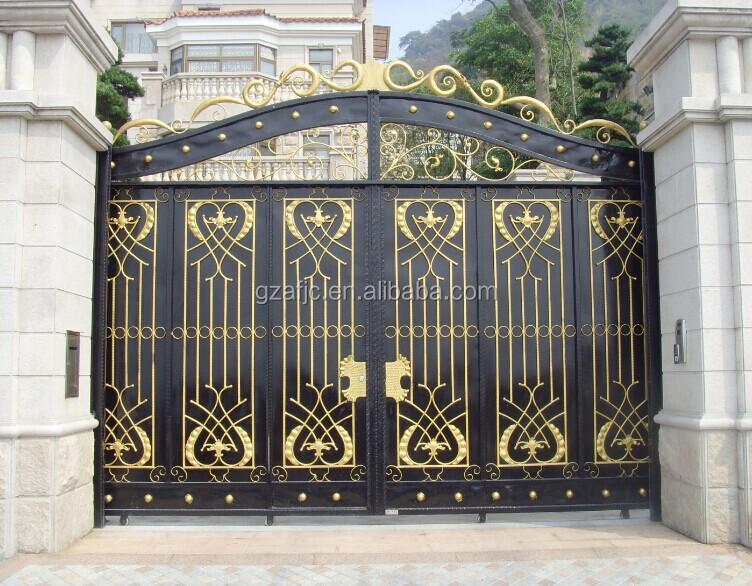 Puerta de acero metal gate puerta para la casa tubo for 3 costo del garage per metro quadrato
