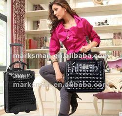 black patent leather trolley laptop bag