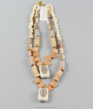 fashionable style double layer chain and stone with gold plating necklace