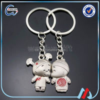 Hot sale printing boy and girl kissing magnetic couple key chain with your own design