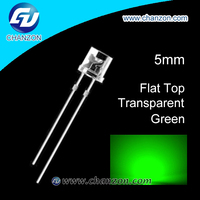 Ultra bright 0.06W 3V through hole water clear flat top 5mm led diode green