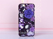 Artificial crystal rose pc phone case for iPhone6 sexy hot Peach heart