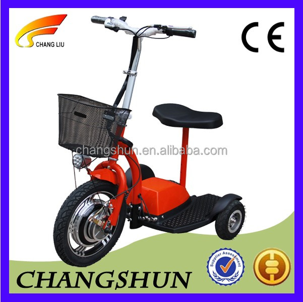 foldable 3 wheel electric scooter 36V350W 500w with ce proved for old people