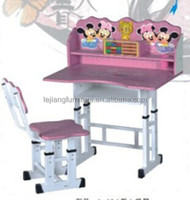 Adjustable metal tube with powder coating PB board children folding desk and chair
