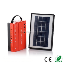 New style portable small mini rechargeable led home lightning solar power with USB charger FM radio solar energy storage system