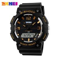 multifunction 2 time zone japan quartz digital led clock fashion 3d dial sports 50m waterproof dive skmei 1057 watch