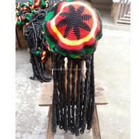 Fahion knitted rasta tam dreadlocks hat with braid wig