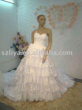 2014 Suzhou sale White Taffeta Tiered Royal Ruffle Wedding Dress Real Picture