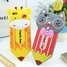 Wholesale pencil 3D cute animal shaped silicone mobile cover phone case for iPhone 5 6 6 plus