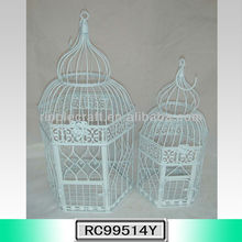 S/2 White Hexagon Small Iron Wholesale Bird Carrier