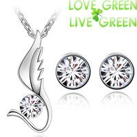 Free Shipping fashion wedding bridal round zircon wings design 18K gold plated pendant Necklace Earrings jewelry sets 80064