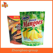 Laminated plastic aluminum foil heat seal food packaging stand up pouch mango bag