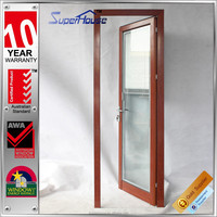 2015 new designed wood grain aluminium glass outside single door with perfect sealing