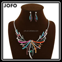 2015 Unique Design My Style Colorful Tassel Statement Oil Drop 2 Pieces Necklace and Earrings Jewelry Sets TYJ0173
