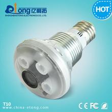 bulb hidden security cctv camera HD 720P IR camera,6 ft motion detection,CCTV security DVR,Bulb Light camera(T10)