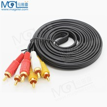 audio cable !! 3 rca to 3 rca double male end 3 meters,3 RCA Composite Video + Audio Cable