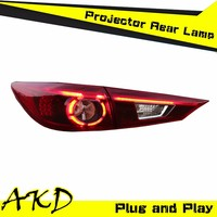 AKD Car Styling MAZDA 3 LED Tail Light New MAZDA3 Tail Lights 2014 Rear Trunk Lamp DRL+Turn Signal+Reverse+Brake Orignal Design