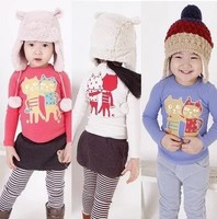 Cute kids T-shirt long sleeve with cartoon cat printing white/red/ 5pcs/lot