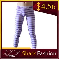 Shark Fashion male sexy body wearing pant striped cotton sexy leggings pant