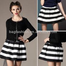 2014 Women Girls Stripe High Waist Skirt Black White Splicing Color Stitching Texture Short Bubble Skirt