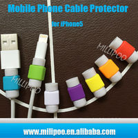Mobile Phone Accessories Colorful CellPhone USB Cord Protector, Silicone Charging Cable Protector for Iphone 4/5/6/6plus/Ipad
