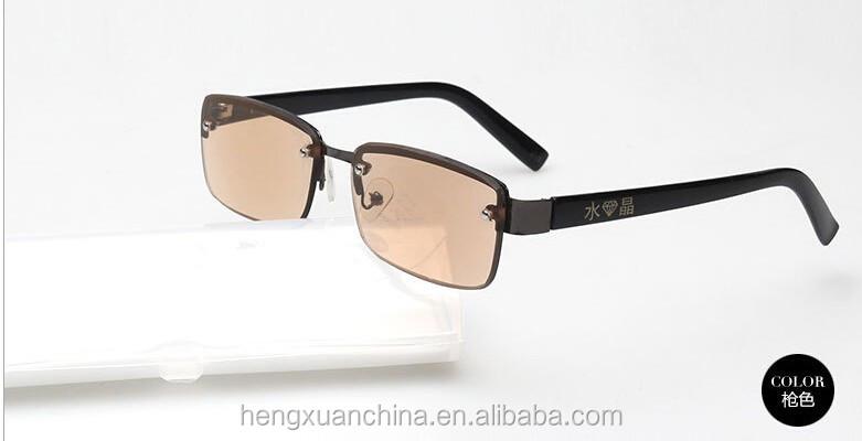 Half Frame Metal Reading Glasses : Rectangle Half Frame Metal Reading Glasses Crystal Reading ...