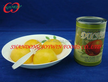 Cheap canned food, canned yellow peach halves in light syrup with private brand