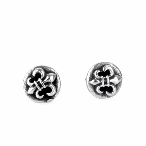 Titanium Steel Punk Retro Mans Enamel Black Iris Design Ear Studs Cross Army Flower Design Earrings