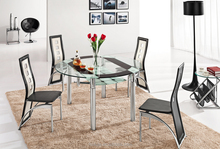 L801B round tempered glass dining table metal dining table base dining room sets