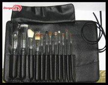 high quality goat hair wooden handle 12pc makeup brush set,2014 best cosmetic tool,pink bell logo