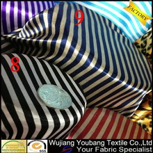 Printed polyester black white striped satin fabric