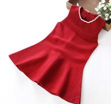 Z87976C korean design pearls neck clothes Cashmere wool knitting kids dresses