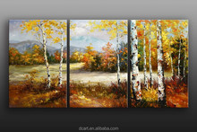New arrival group 3 panel handmade knife painting for scenery for gallery