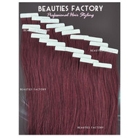 "Beauties Factory 20"" Tape in Skin Weft 100% Remy Human Hair Extensions #99J Cheryl Cole Red"