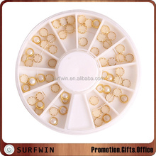 Nail art jewelry half round pearl studs with gold metal wrap for Nail Art