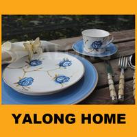 elegant rose design blue and white chinese dinnerware for europe
