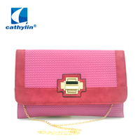 2015 New Arrival Hot Sale Fashion Women Handbags With Chain Envelope Shape Crossbody Convenience Pink Lady Woven Clutch Bag