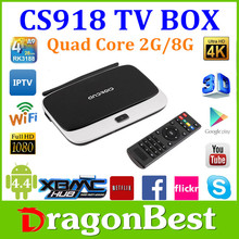 CS918 Quad Core Android TV Box Arabic IPTV , IPTV Box Live TV D Smart, 3D TV Converter Box 2GB RAM 8GB ROM with Bluetooth 4.0