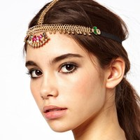 Free shipping cheap wholesale gold bridal head chain headband for women wedding crystal hair head piece chain jewelry