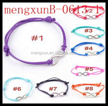2014pink blue,red ,brown,black purple ,green South Korea,letter eight metail wool woven bracelet