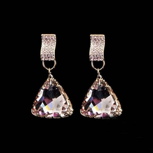 Fashion hot sale triangle dangle earrings beautiful earring designs for women