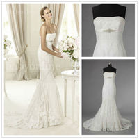 Gorgeous 2012 Vintage Mermaid Lace Wedding Dress Simple Design With Long Sash and Chapel Train